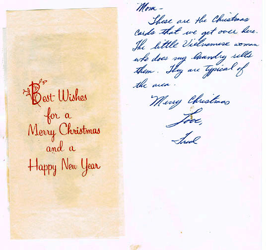 Sample French Christmas Letter.  Fred s Viet Nam Days